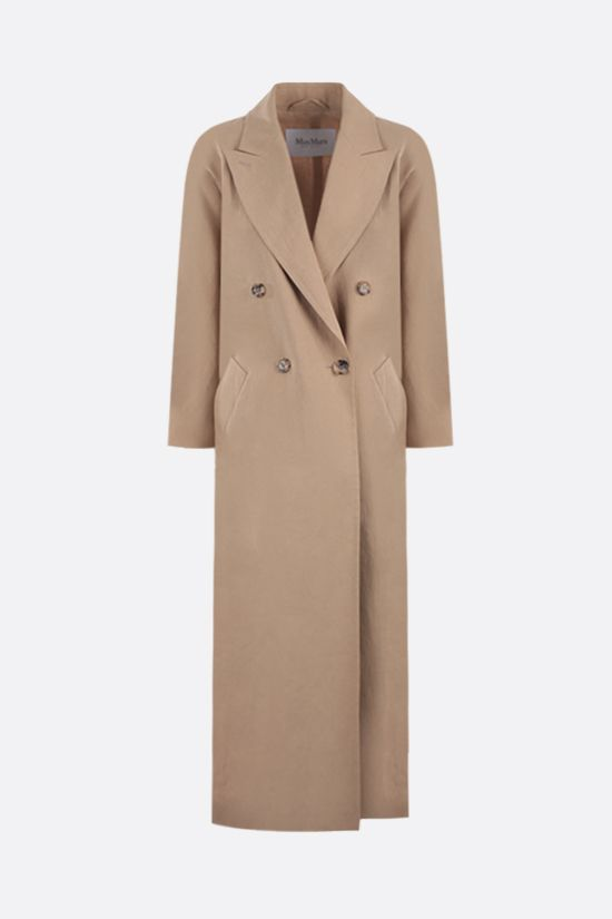 MAX MARA: Alpaca double-breasted linen overcoat Color Brown_1