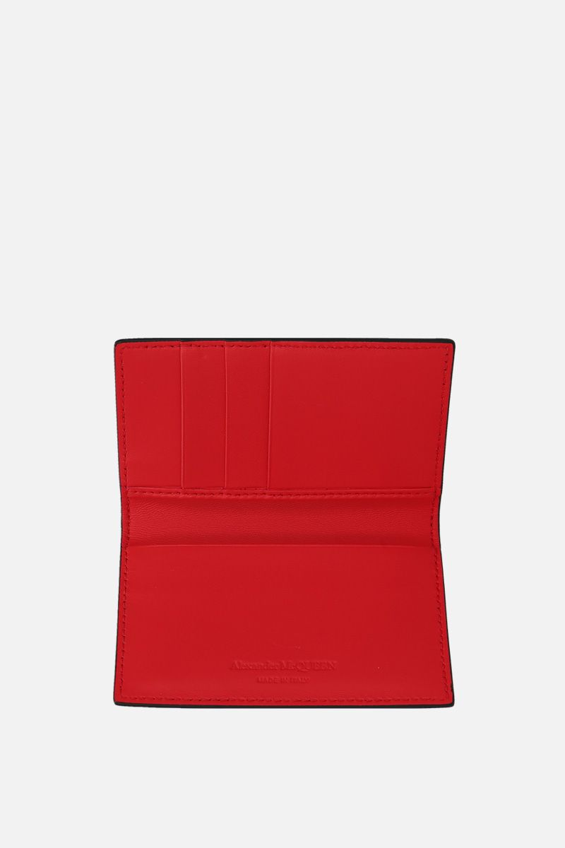 ALEXANDER McQUEEN: smooth leather card case Color Black_2