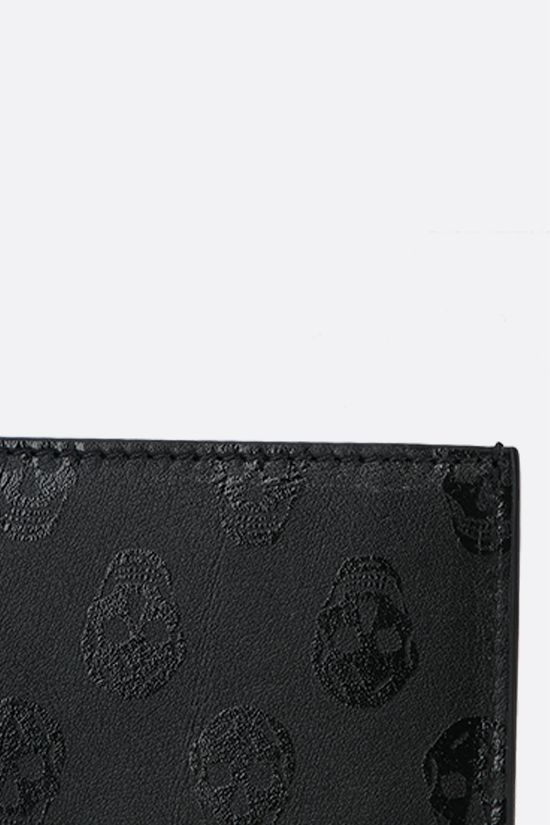 ALEXANDER McQUEEN: Skull print smooth leather card case Color Black_4