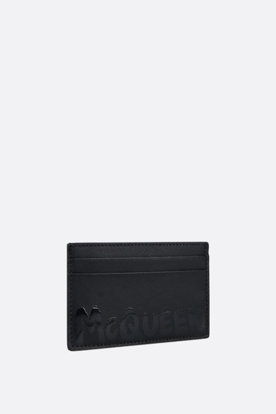 ALEXANDER McQUEEN: McQueen Graffiti smooth leather card holder Color Black_2
