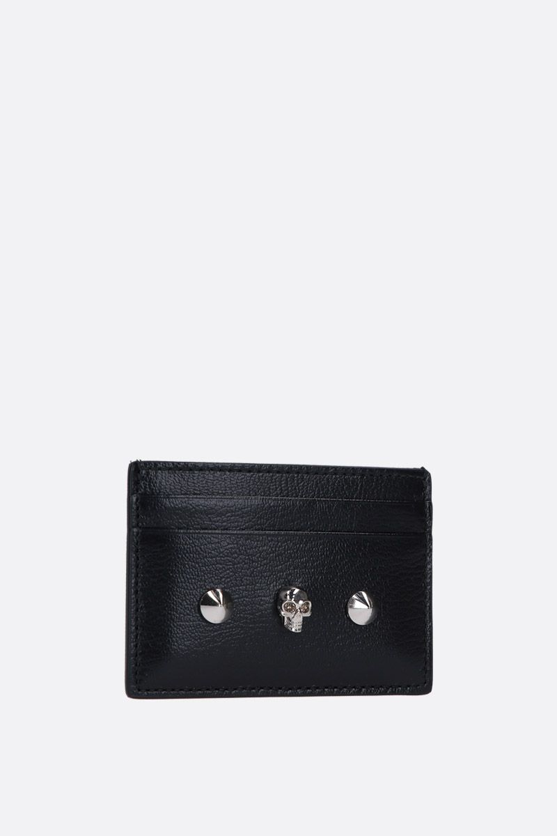 ALEXANDER McQUEEN: Skull card case in smooth leather Color Black_2