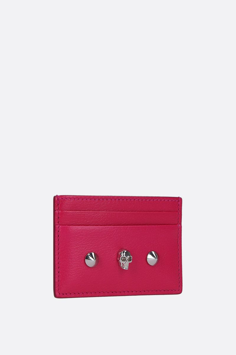 ALEXANDER McQUEEN: Skull card case in smooth leather Color Pink_2