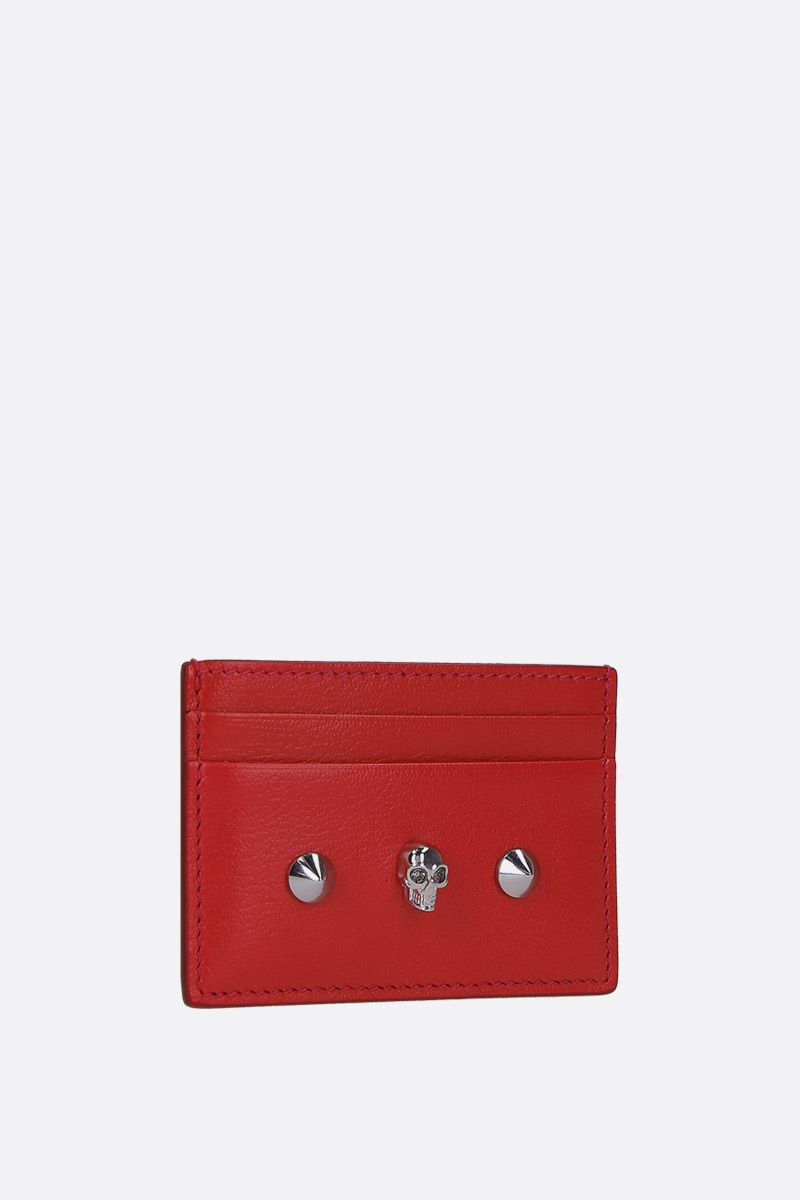 ALEXANDER McQUEEN: Skull card case in smooth leather Color Red_2