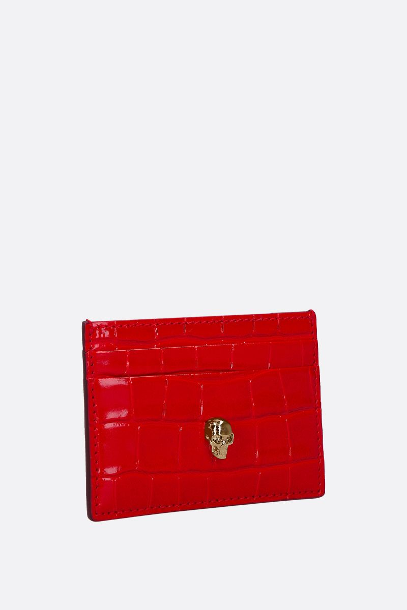 ALEXANDER McQUEEN: Skull-detailed crocodile embossed leather card case Color Red_2