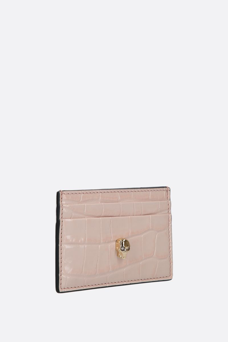 ALEXANDER McQUEEN: Skull-detailed crocodile embossed leather card case Color Pink_2