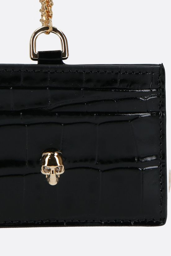 ALEXANDER McQUEEN: crocodile embossed leather chain card case Color Black_3