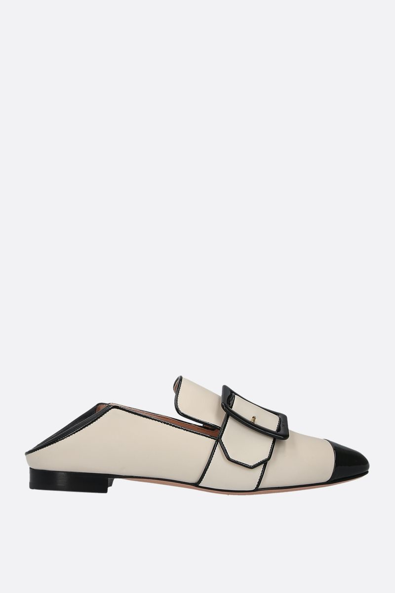 BALLY: Janelle smooth and patent leather slippers Color Neutral_2