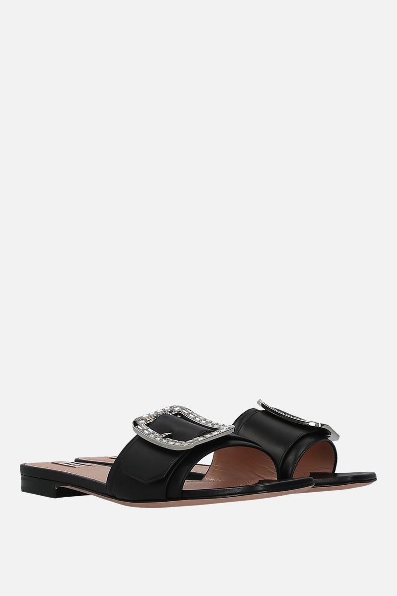 BALLY: Janna slide sandals in smooth leather Color Black_2