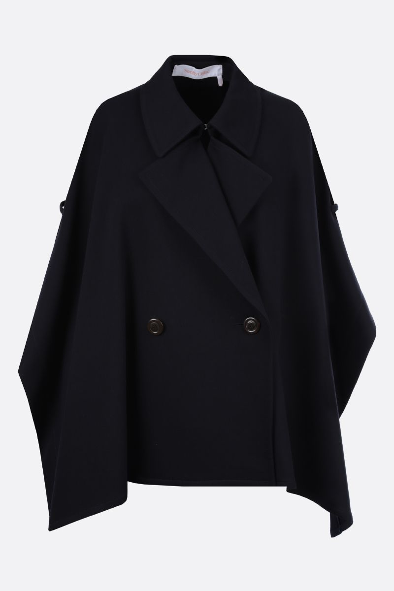 SEE BY CHLOÈ: gabardine double-breasted cape Color Grey_1