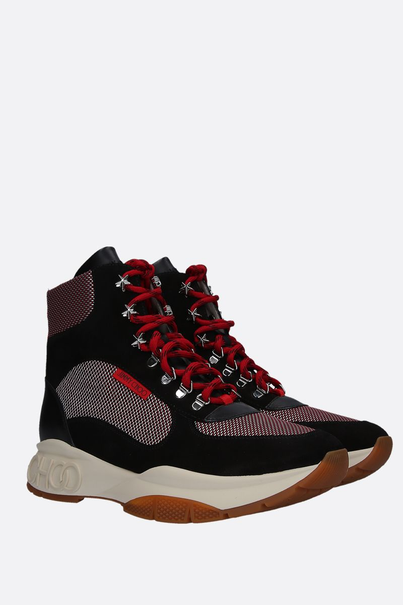 JIMMY CHOO: Inca hiking boots in leather and suede wih mesh inserts Color Multicolor_2