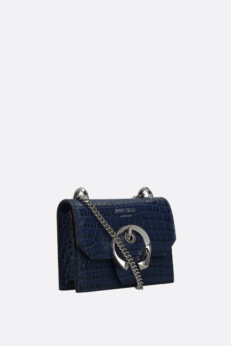 JIMMY CHOO: borsa a tracolla mini Paris in pelle stampa coccodrillo Colore Blu_2