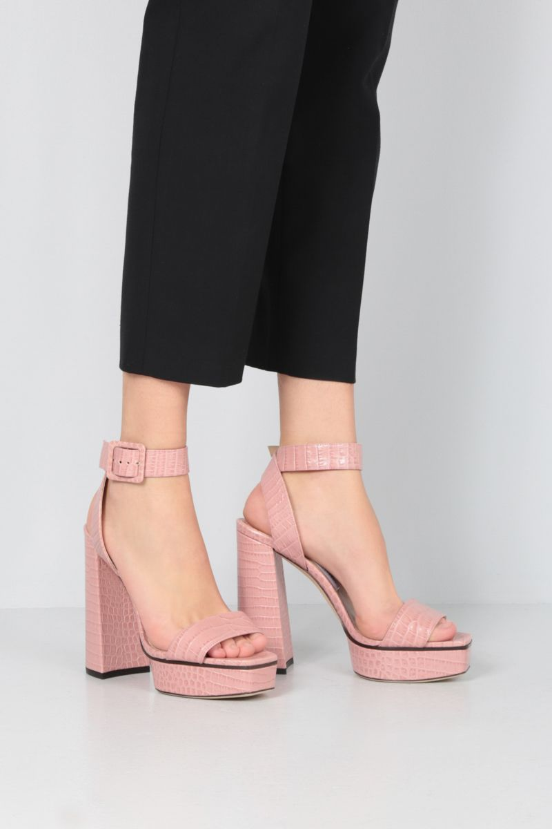JIMMY CHOO: Jax/PF platform sandals in crocodile embossed leather Color Pink_2
