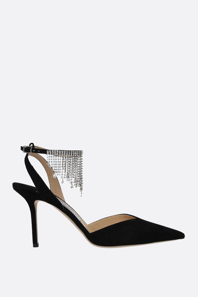 JIMMY CHOO: slingback Birtie in suede con cristalli Colore Nero_1