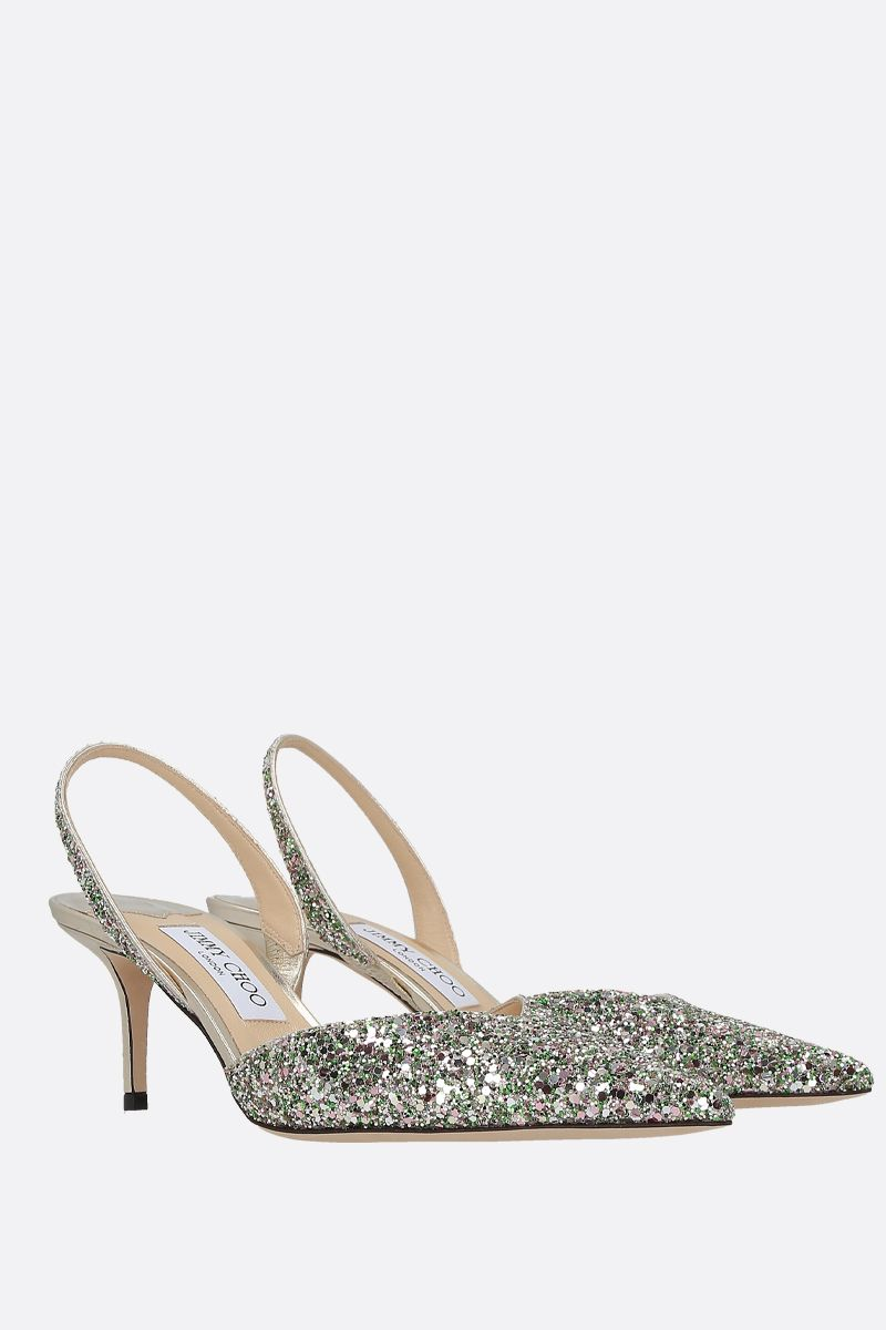 JIMMY CHOO: Thandi glitter fabric slingbacks Color Multicolor_2