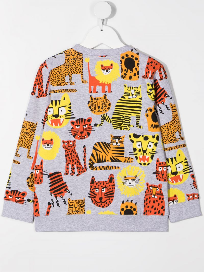STELLA McCARTNEY KIDS: Wild Cats organic cotton sweatshirt Color Grey_2