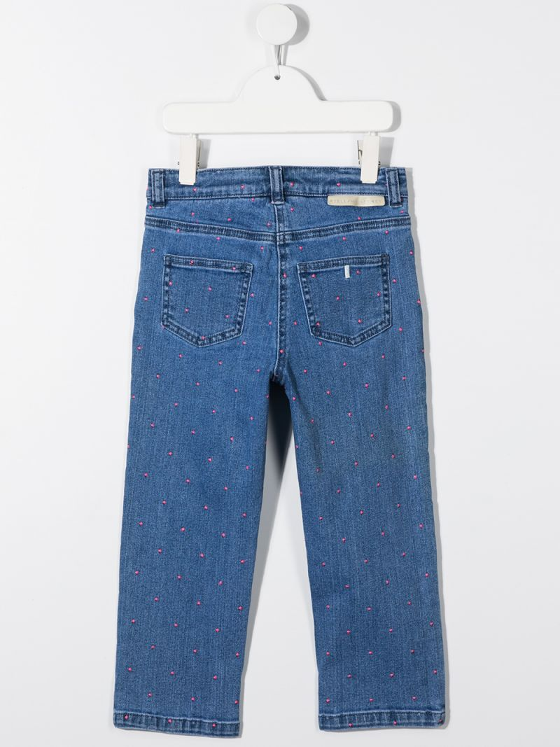 STELLA McCARTNEY KIDS: jeans con ricamo pois Colore Blu_2