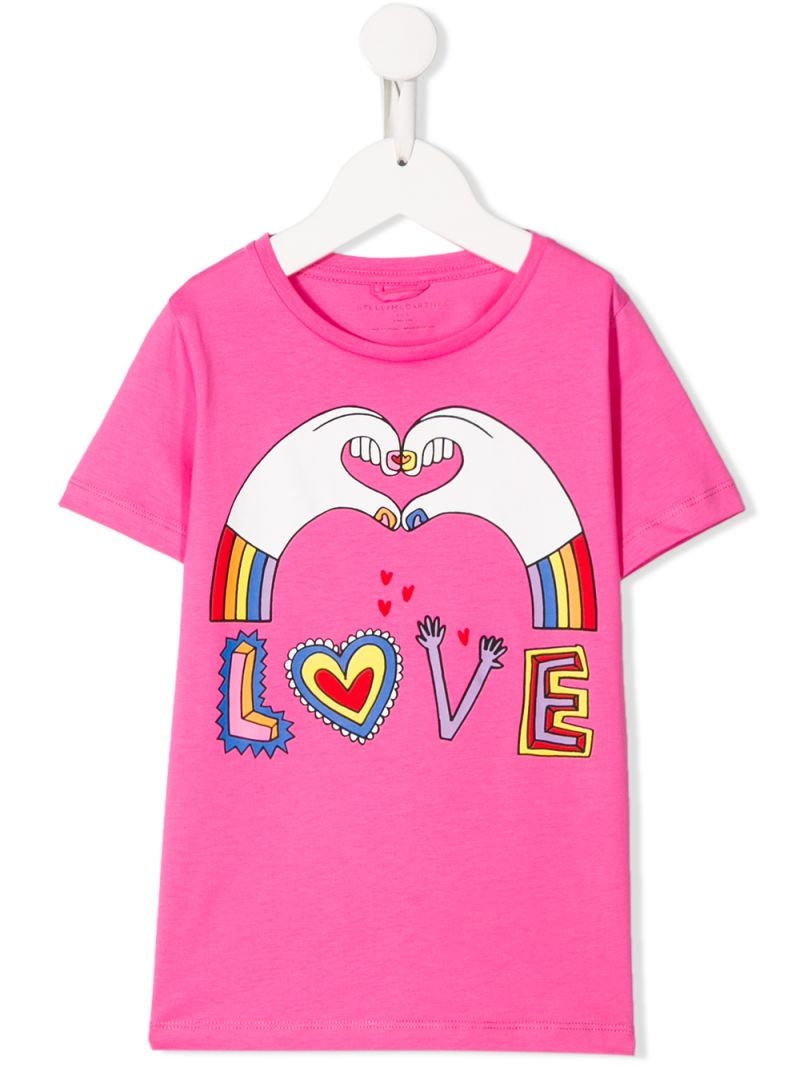STELLA McCARTNEY KIDS: t-shirt in cotone stampa Love Hands Colore Rosa_1