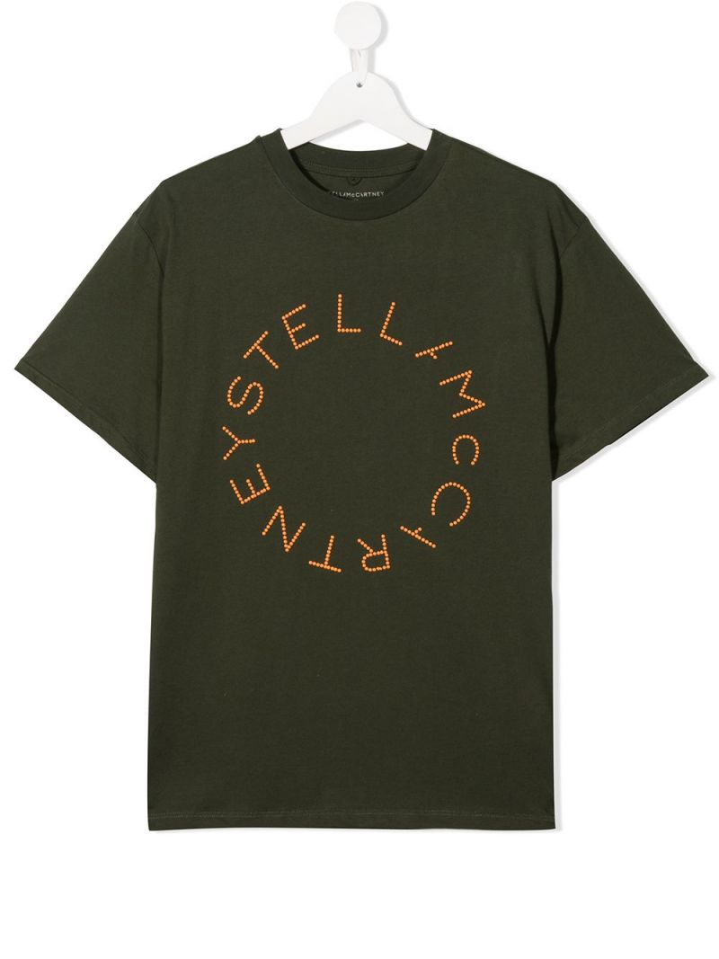 STELLA McCARTNEY KIDS: logo print cotton t-shirt Color Green_1