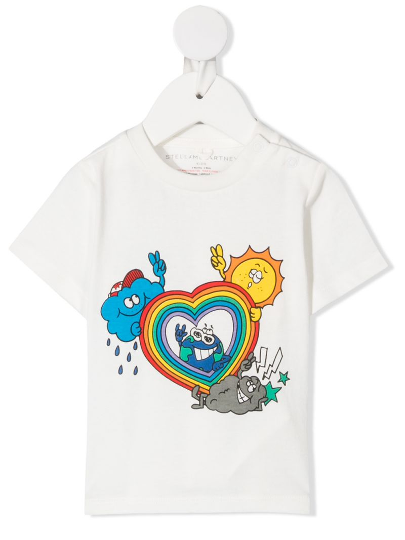 STELLA McCARTNEY KIDS: Rainbow Heart print cotton t-shirt Color White_1