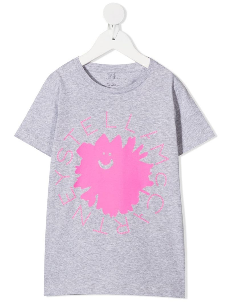 STELLA McCARTNEY KIDS: flower logo print cotton t-shirt Color Grey_1