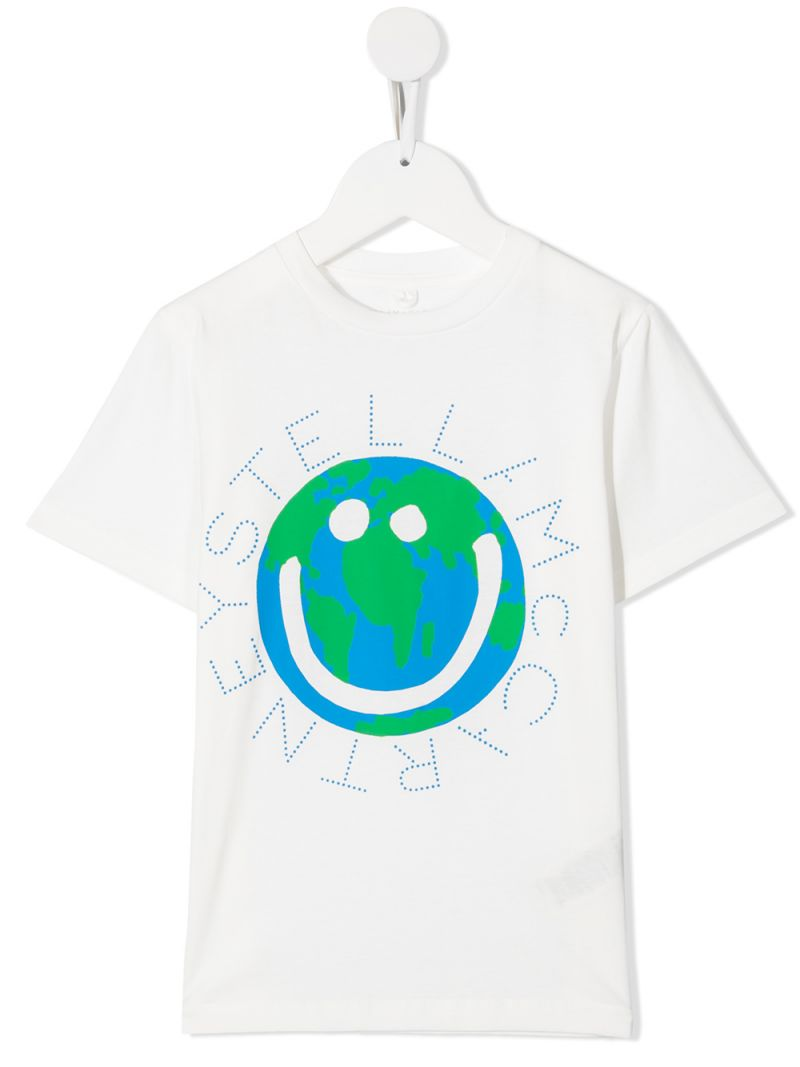STELLA McCARTNEY KIDS: Smiling Earth print cotton t-shirt Color White_1