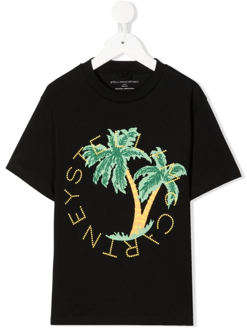 STELLA McCARTNEY KIDS: Palm Logo print cotton t-shirt Color Black_1