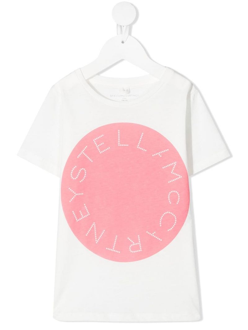 STELLA McCARTNEY KIDS: logo print sustainable cotton t-shirt Color White_1