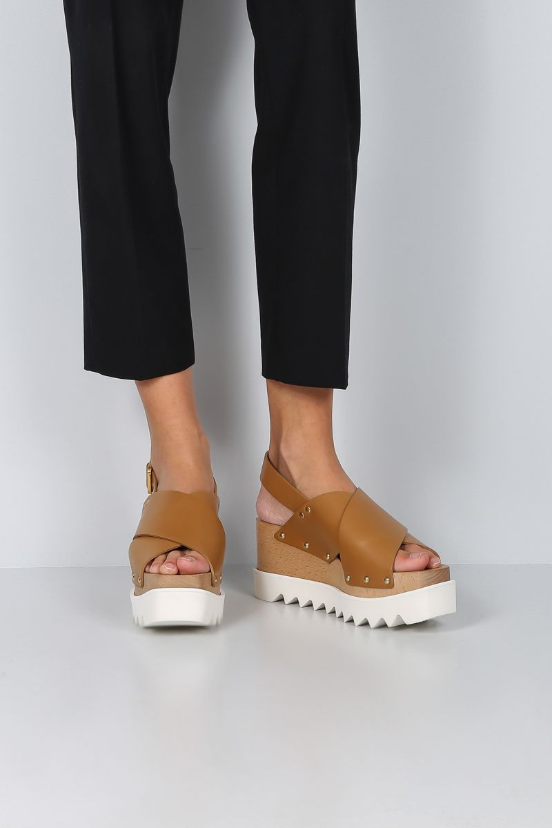 STELLA McCARTNEY: Percy flatform sandals in Alter Nappa Color Brown_2