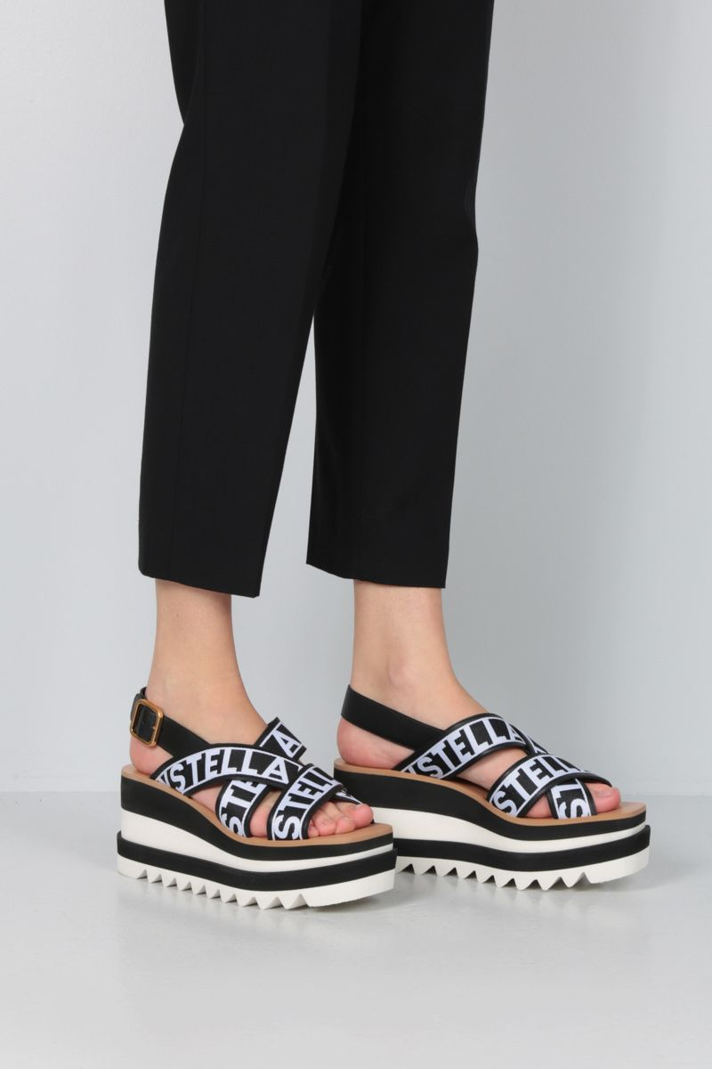 STELLA McCARTNEY: Alter Nappa and jacquard flatfrom sandals Color Black_2