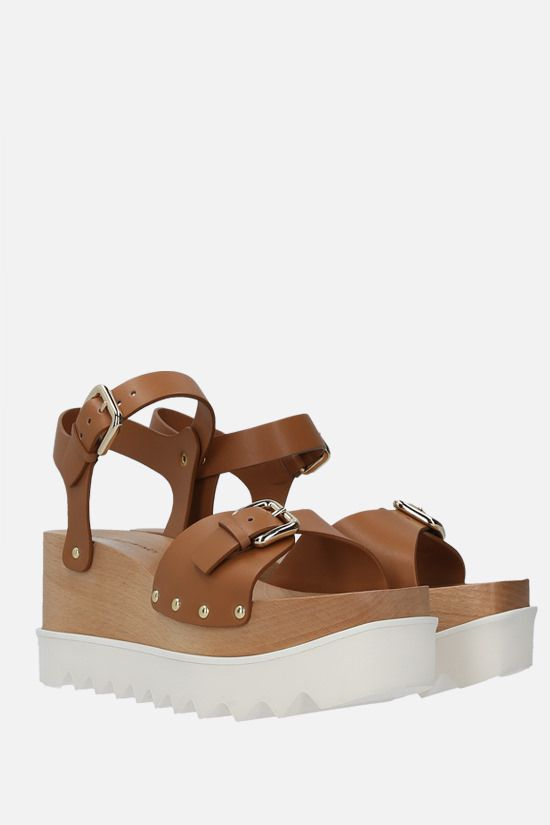 STELLA McCARTNEY: Elyse flatform sandals in Alter Nappa Color Brown_2