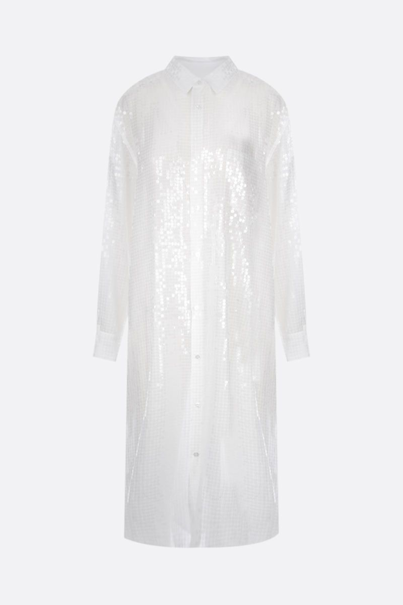 JUNYA WATANABE: abito chemisier in paillettes Colore White_1