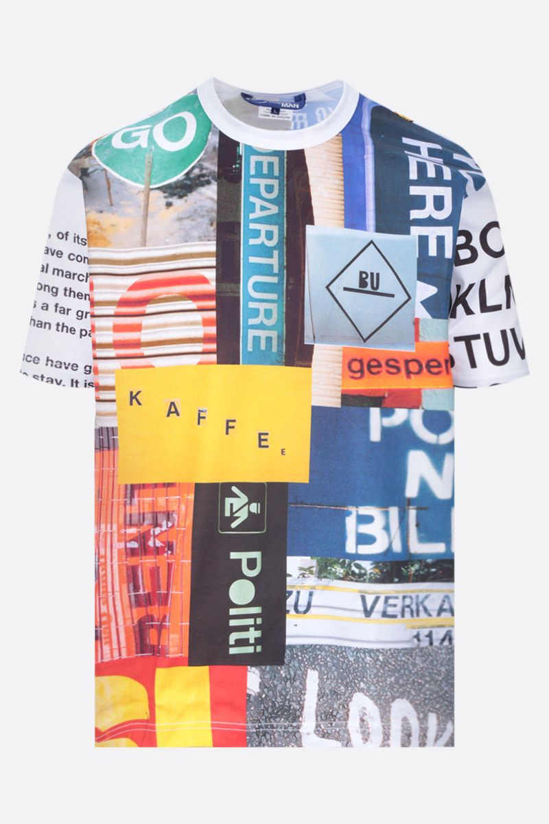 JUNYA WATANABE: t-shirt in cotone stampa collage Colore Multicolor_1
