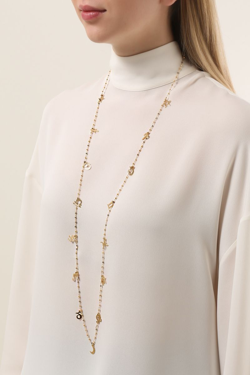 GLAM STYLE: yellow gold pleated chain necklace_2