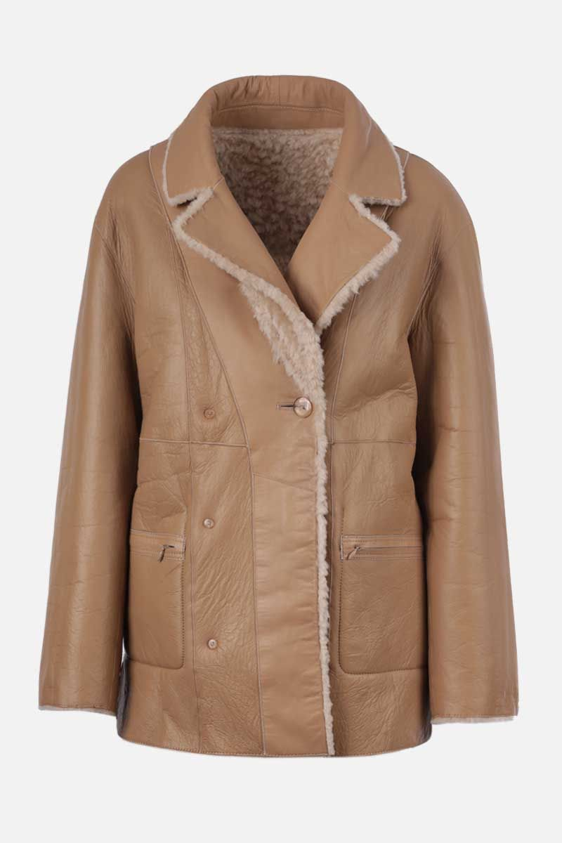 SYLVIE SCHIMMEL: Agora shearling reversible double-breasted jacket Color Neutral_2