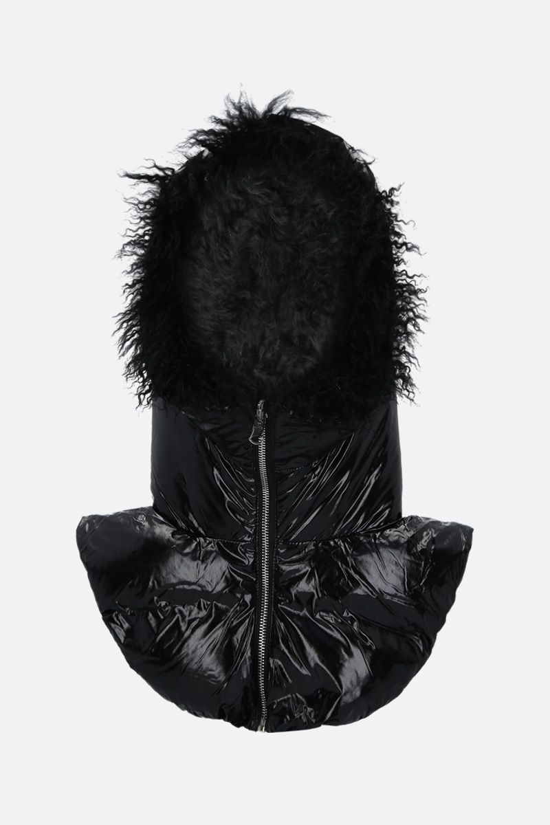 YVES SALOMON: coated nylon padded hood Color Black_1