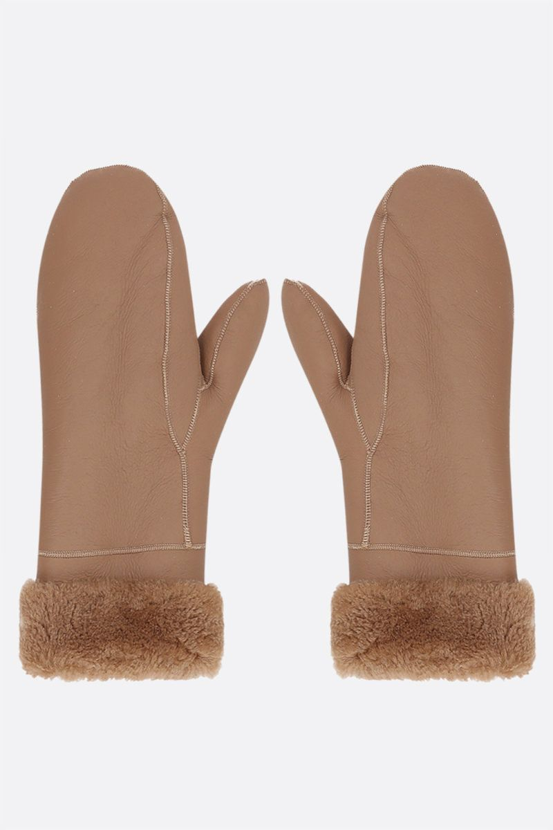 YVES SALOMON: shearling mittens Color Neutral_1