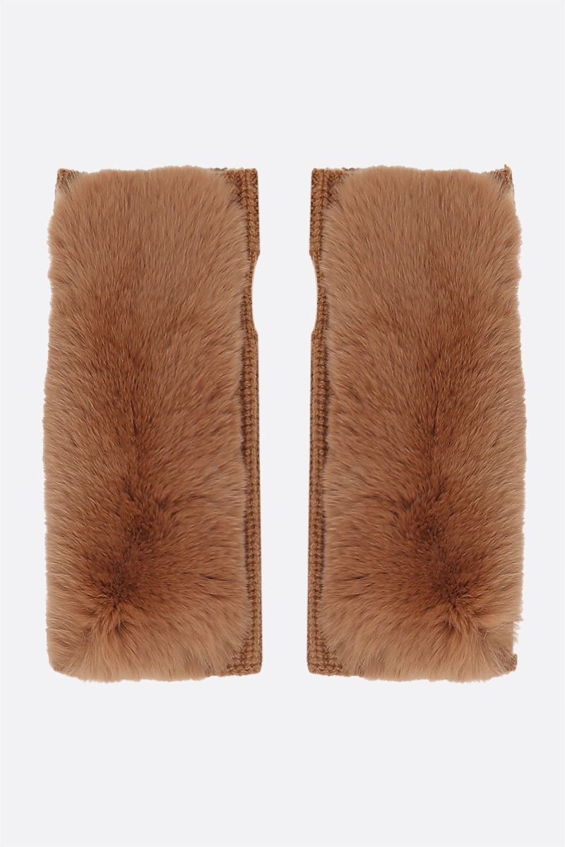 YVES SALOMON: cashmere knit and rabbit fur fingerless gloves Color Brown_1