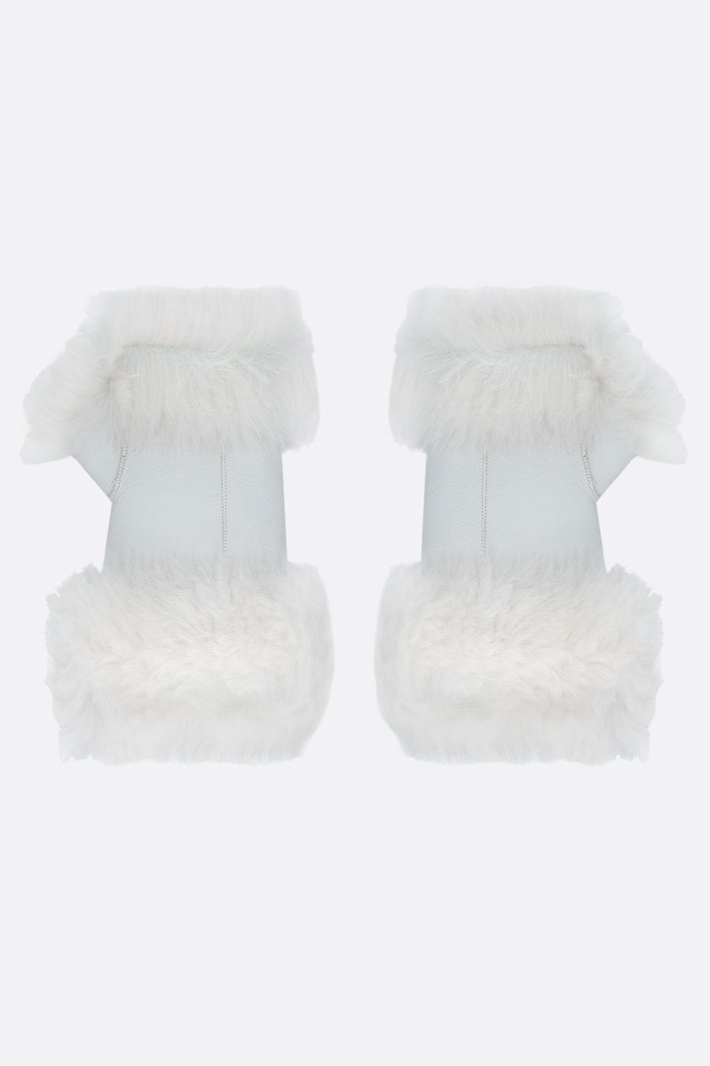 YVES SALOMON: shearling mittens Color White_2