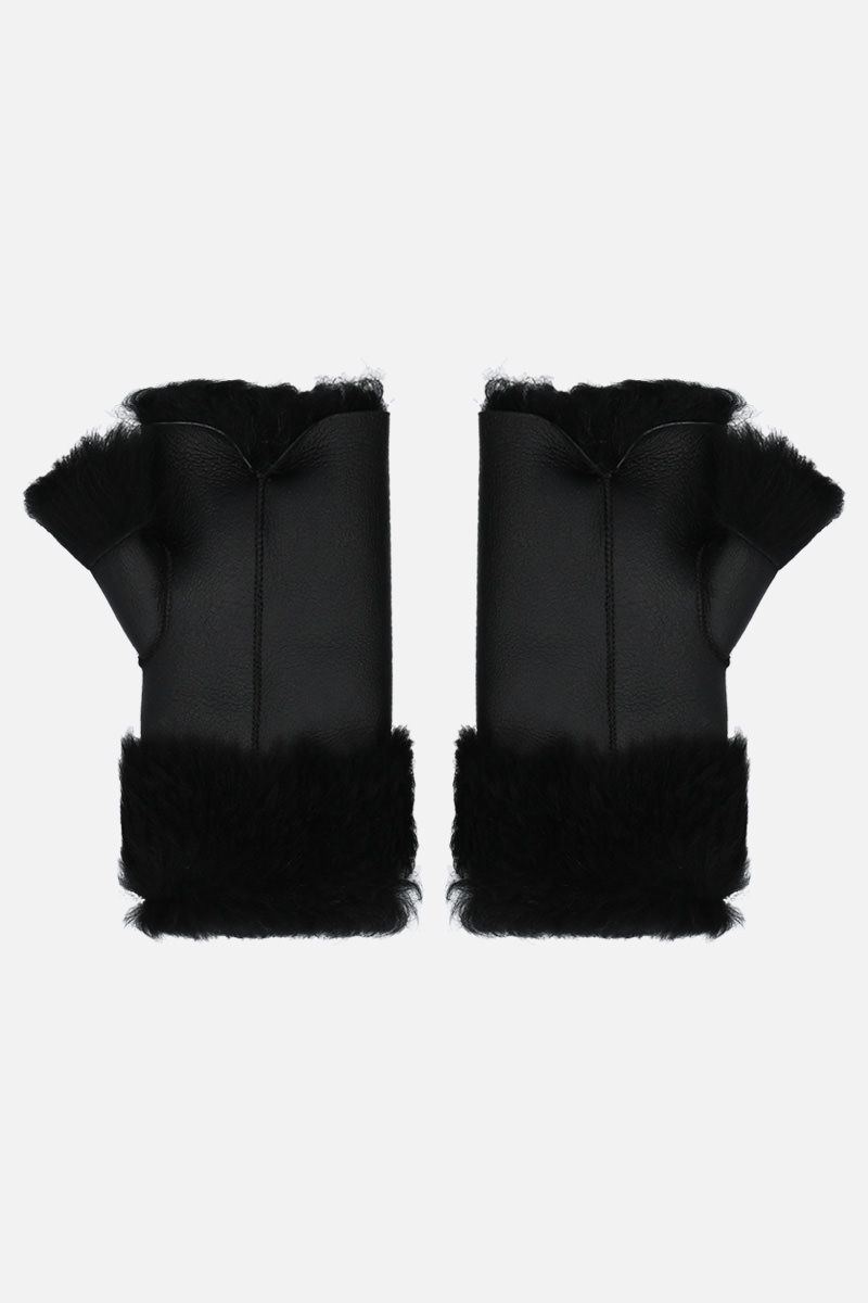 YVES SALOMON: muffole in shearling Colore Nero_2