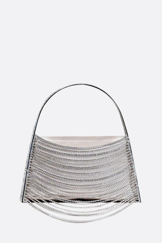 BENEDETTA BRUZZICHES: Lucia In The Sky handbag in brass and crystal rows Color Silver_1